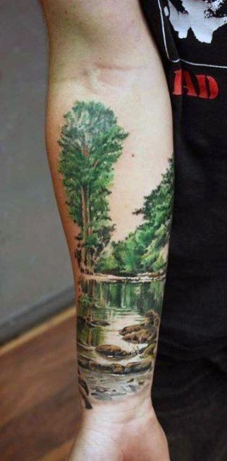 Trendy Tattoo Sleeve Men Arm Nature Awesome 42 Ideas Tatuaje De Paisaje Disenos De Tatuaje De Manga Tatuaje De Bosque En El Brazo