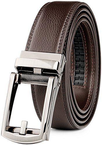 JASGOOD Men's Genuine Leather Ratchet Dress Belt. JasGood