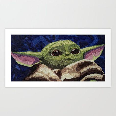 Baby Yoda Yoda Baby Yoda Meme Baby Yoda Scene Baby Yoda Scenes Baby Yoda Song Baby Yoda Memes The Mandalor Yarn Painting Yarn Painting Art Paintings Art Prints