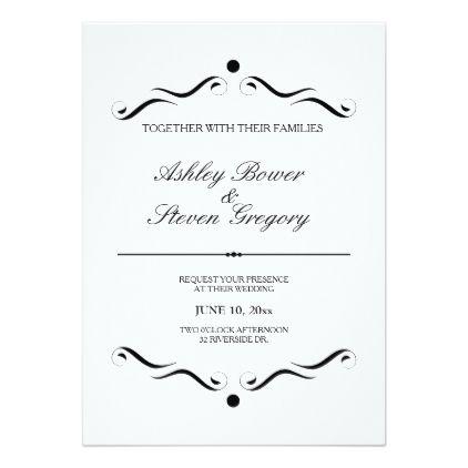 White Formal Wedding Invitation Zazzle Com Invitations
