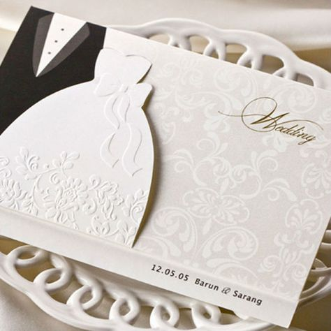 Sample One Piece , Classic Embossed White Bride and Bridegroom Wedding Invitation Card with Envelopes and Seal, Hot Selling US $4.90