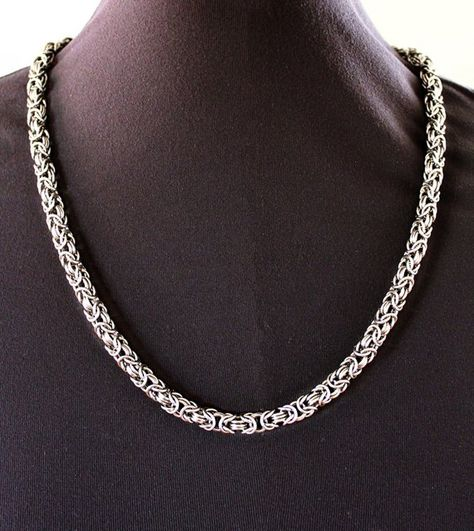 Mens Necklace / Byzantine Chain / Stainless Steel Jewelry / Heavy Necklace / Mens Silver Necklace / Custom Metal Jewelry / Thick Masculine