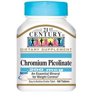 21st Century Chromium Picolinate 200 Mcg 100 Tablets 21st