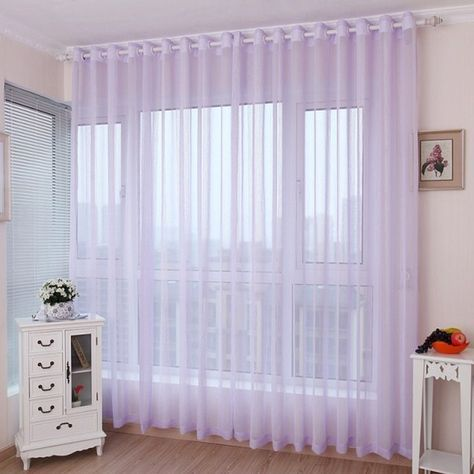 Romantic Light Purple Lavender Sheer Curtains For Girls Bedrooms