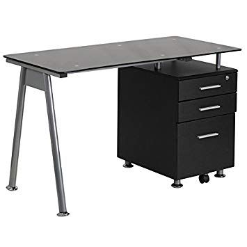 Black Desk With Drawers On Both Sides With Images Glass