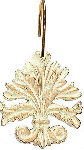 Royal Bath Brushed Gold Fleur Dis Lis Resin Shower Curtain Hooks
