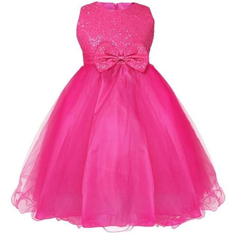 Photo of Sleeveless hot pink girls sequin dress