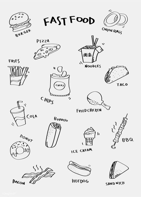 Hand drawn fast food vector set | free image by rawpixel.com / nap