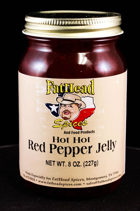 Red Pepper Jelly - this is the hotter of our two jellies, it's still sweet but very spicy.  Tastes good on crackers or meat. #fatheadspices #redpepperjelly #hotjelly #food #cooking