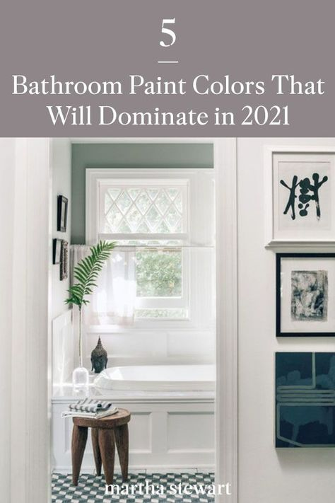 Curious what paint colors will be trending in 2021? We asked a handful of paint experts to share their predictions for the best paint colors for the bathroom. #paintcolors #marthastewart #paintideas #paintcolorideas #bestpaintcolors #homeinspiration