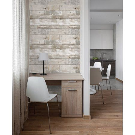 Inhome Driftwood Peel Stick Wallpaper Walmart Com In 2020 Accent Walls In Living Room Faux Wood Wall Peel And Stick Wallpaper