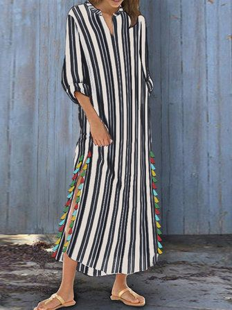 Women Sleeveless Ruffle Kaftan Long Dress Striped Plain Vintage Cocktail Dresses