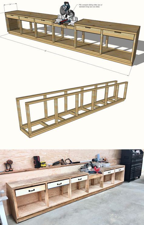 Pony Wall Workbench & Ana White Garage Workshop Tutorials & wood working Pony Wall Workbench & Ana White Garage Workshop& The post Pony Wall Workbench Woodworking Shop Layout, Woodworking Workshop, Woodworking Projects Diy, Woodworking Bench, Woodworking Patterns, Woodworking Techniques, Woodworking Equipment, Woodworking Machinery, Free Woodworking Plans