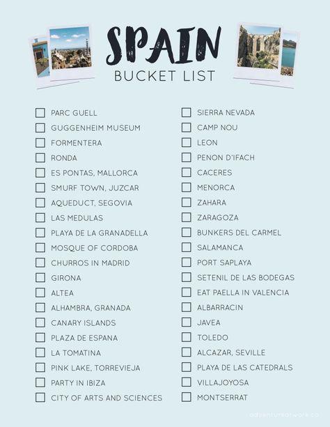 The Ultimate Spain Bucket List | Idee di viaggio, Kit da