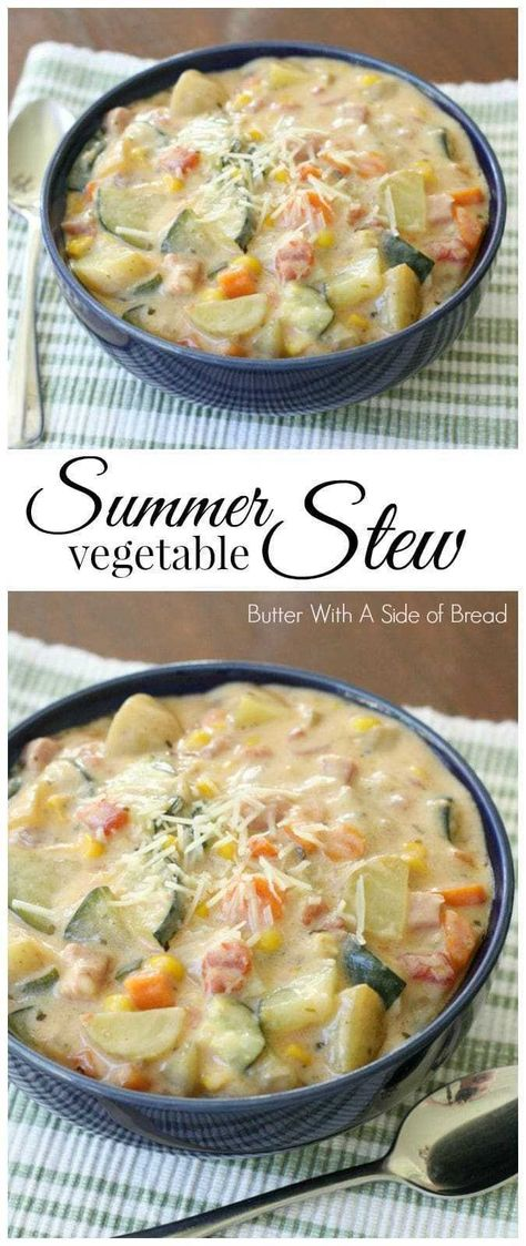 31 Superb Stew Recipes To Keep You Warm This Winter Summer Vegetable Stew is delicious, with tomatoes, zucchini, carrots and more. Fresh flavors perfect for a weeknight summer meal when the garden is overflowing. Slow Cooker Recipes, Cooking Recipes, Healthy Recipes, Easy Recipes, Cooking Time, Delicious Recipes, Veggie Dishes, Soup And Salad, Soups And Stews