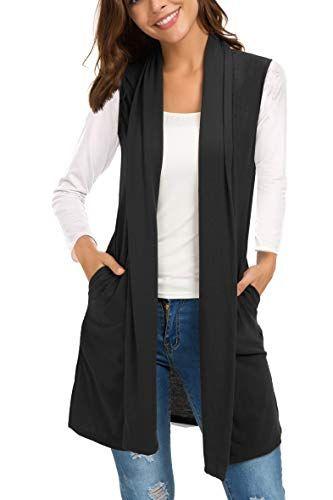 a maniche lunghe Cardigan da donna aperto sul davanti OUGES leggero con tasche
