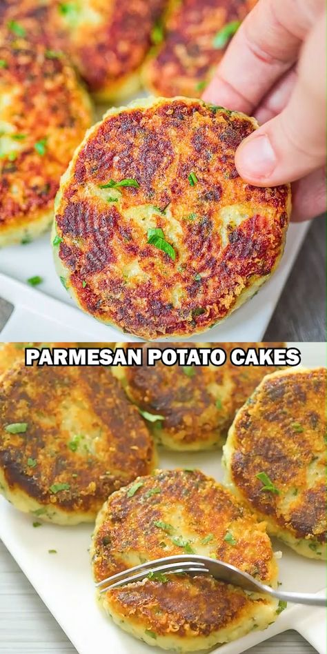 These Parmesan Mashed Potato Cakes are so addictive! A crunchy, cheesy crust is hiding the soft, velvety mashed potato filling. They make a perfect side dish or a filling vegetarian meal. FOLLOW Cooktoria for more deliciousness! #potatoes #lunch #dinner #vegetarian #easyrecipe #breakfast #brunch #cooktoria