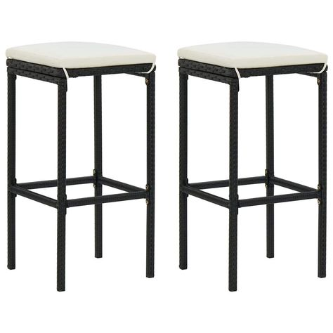This set of 2 bar stools features a unique design and is perfect for restaurants, bars, and your living room or dining room at home. The bar chair has a strong construction of steel frame, making it stable. Thanks to the weather-resistant and lightweight PE rattan, this counter stool is durable and easy to move. The seat cushion and built-in footrest also add additional seating comfort for the stool. The easy-to-clean polyester cushion cover with concealed zipper can be removed and washed. Color