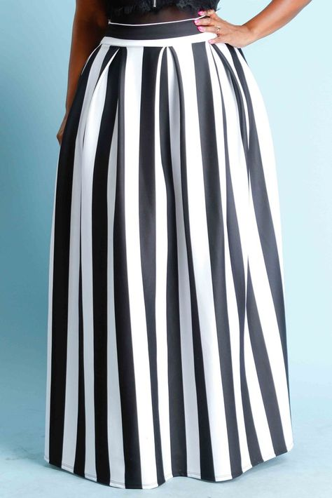 d0a0c6e3a2 Plus Size Stripe Scuba Maxi Skirt | Maxi dresses in 2019 | Striped ...