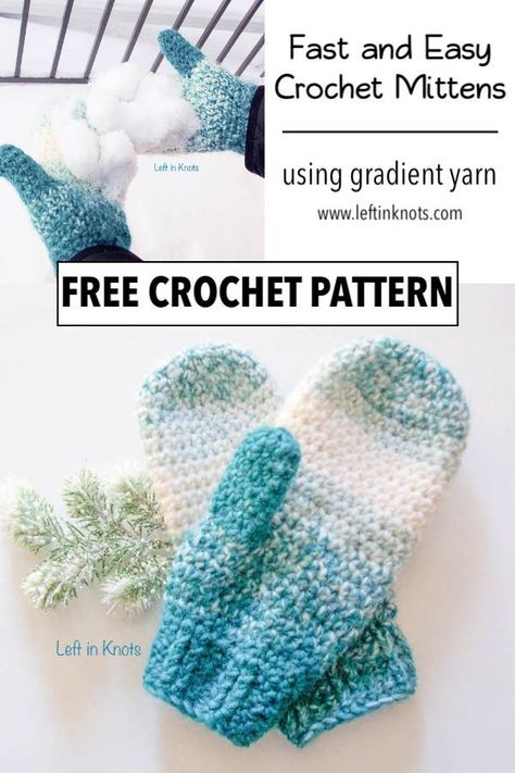Warm Wool-ish Mittens – Free Crochet Pattern Use this free crochet pattern to make a pair of easy, one skein mittens. The Warm Wool-ish Mittens are made using Lion Brand Scarfie yarn and are easy enough to crochet even if you've never made mittens before! Crochet Mitts, Crochet Mittens Free Pattern, Crochet Slippers, Free Crochet, Crochet Patterns, Knitting Patterns, Knitting Tutorials, Tunisian Crochet, Knit Mittens