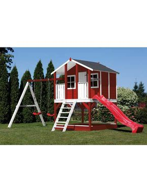Scheffer Outdoor Toys Set Stelzenhaus Tobi Rot Rutsche Doppelschaukel B T H 376 447 281 Cm Hinterhof Spielhaus Hintergarten Kinder Spielhaus Garten