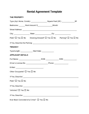 Rental Agreement Template wordstemplates Pinterest Template - parking agreement template