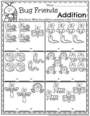 Addition Worksheets Planning Playtime Addition Worksheets Math Activities Preschool Kindergarten Math Activities