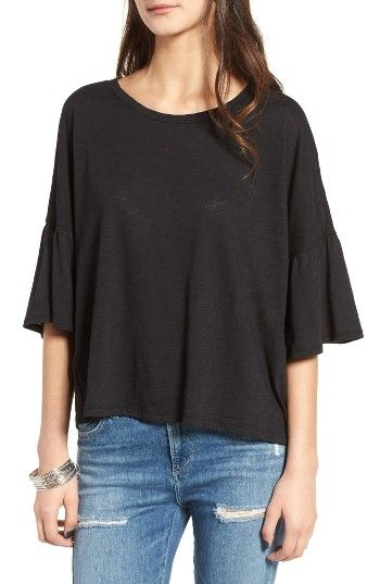 Free shipping and returns on Lush Ruffle Sleeve Tee at Nordstrom.com. Gathered ruffles loosely flounce from the dropped shoulders of this oversized burnout-jersey tee, lending a feminine touch.