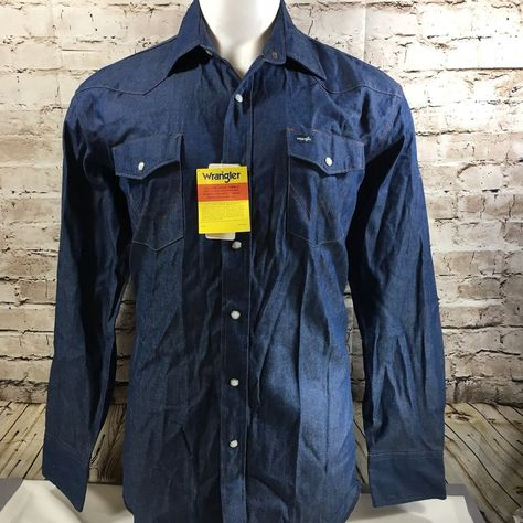 de25323187 New Wrangler Cowboy Cut Authentic Work Western LS Denim Shirt Men s Large   Wrangler  Western
