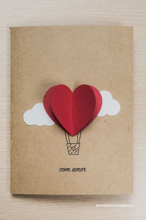 Cartões dia dos namorados coração, balão e nuvem. Recortes e e Colagens. DIY