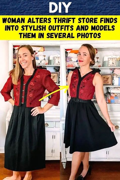 Thrift Store Outfits, Thrift Store Finds, Thrift Stores, Clothing Hacks, Upcycled Clothing, Stylish Outfits, Dress Patterns, Sewing Patterns, Military Wife