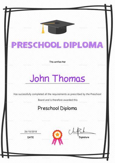 Elegant Preschool Diploma Certificate Template  Formats