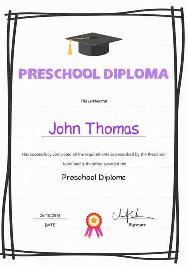 Elegant Preschool Diploma Certificate Template $12 Formats Included