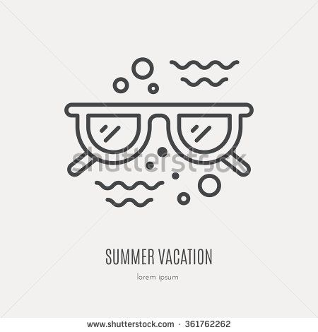 line style logotype template with sunglasses and ocean waves