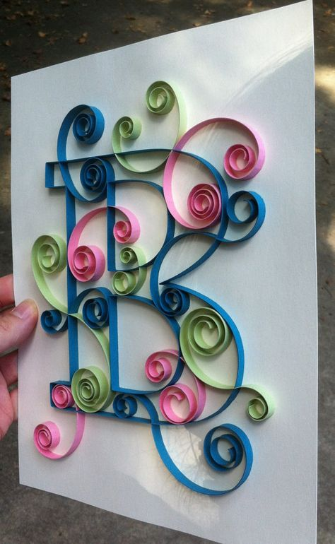 Custom Created Quilled Monograms  8x10 by Allthingsmadebykelly, $25.00