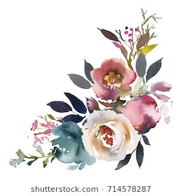 Mazzo Di Fiori Vettoriale.Dusk Blue Pale Pink Gray White Watercolor Floral Corner Bouquet