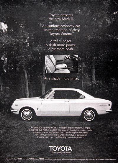 1970 Toyota Mark II original vintage advertisement  A
