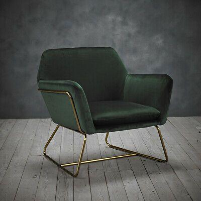 Details About Lpd Charles Armchair Contemporary Vintage Gold Frame Racing Green Velvet In 2020 Velvet Lounge Velvet Armchair Wooden Side Table