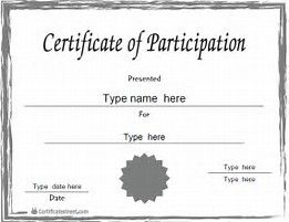Certificate Of Participation Template Certificate Of Participation Office  Templates, Free Certificate Of Participation Customize Online Print, ...  Free Blank Printable Certificates