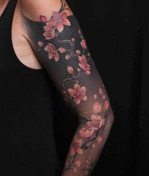 Tatuaje En El Brazo De Flores De Cerezo Tatuajes Manga Completa Brazos Tatuados Disenos De Tatuaje De Manga