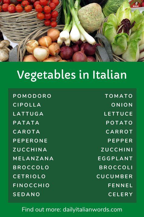 Vegetables in Italian