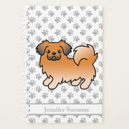 Red Sable Tibetan Spaniel Cute Cartoon Dog Text Planner Zazzle