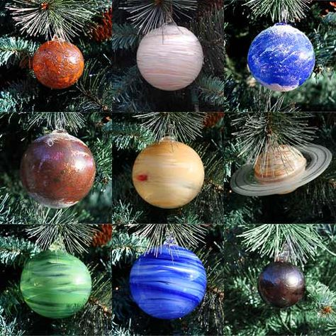 Could swirl acrylic paint around inside glass ball ornaments to get the various effects, add in some glitter, etc. (I've seen the glitter ornaments DIYs go by again recently) in a few different sizes to make a DIY version for yourself. Would be fun when the kid is a bit older and learning about the planets.