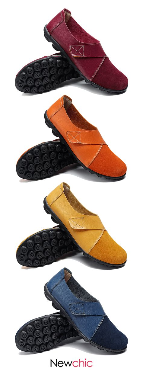 【60% off】Splicing Leather Hook Loop Soft Sole Casual Flat Loafers.#loafers #casualflats #womenshoes
