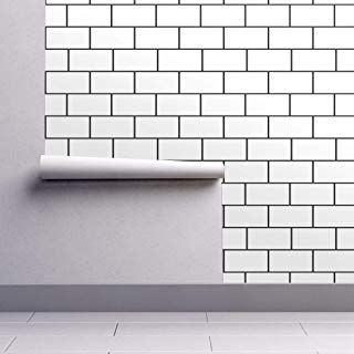 Peel-and-Stick Removable Wallpaper Subway Tiles Simple Black And White