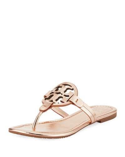 7eb08430e Tory Burch Miller Medallion Metallic Leather Flat Slide Sandal ...