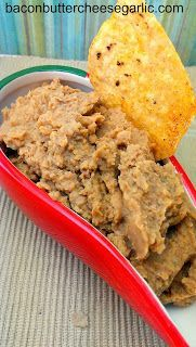 Homemade Bean Dip...tastes just like the Frito-Lay bean dip in a can, but you know exactly what's in it!  Great for game day!