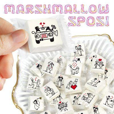 Segnaposto Matrimonio Marshmallow.Marshmallow Con Scenette Matrimonio Marshmallow Matrimonio