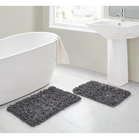 Mainstays Paper Shag Bath Rug Set 2 Piece Walmart Com Bath Rugs Sets Bathroom Rugs Shag Bath Rug