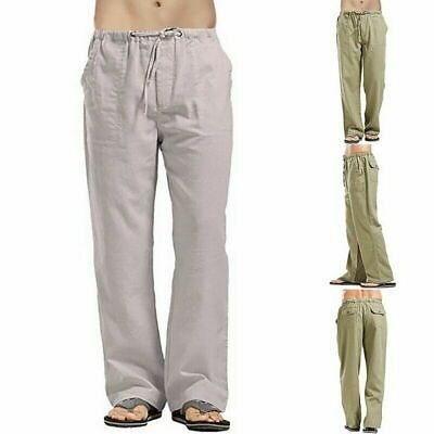 Mens Cotton Trousers Drawstring Yoga Elasticated Linen Loose Casual Pants UK